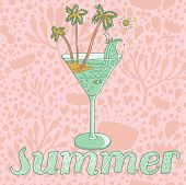 pic of champagne color  - Warm summer concept card in pastel colors - JPG
