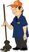 picture of janitor  - Janitor Standing with Mop - JPG