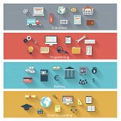 picture of long distance  - Set of modern concepts in flat design with long shadows and trendy colors for e - JPG