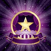 stock photo of stage decoration  - vector purple circle circus stage with golden star and blank banner - JPG