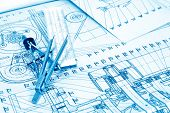 foto of mechanical drawing  - industrial drawing detail and several drawing tools - JPG