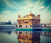 stock photo of harmandir sahib  - Vintage retro hipster style travel image of Sikh gurdwara Golden Temple  - JPG