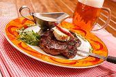 stock photo of butter-lettuce  - Beef Steak with Butter - JPG