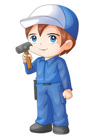 picture of chibi  - Cute cartoon illustration of a handyman isolated on white - JPG