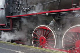 stock photo of steam  - The photograph shows a steam engine train - JPG
