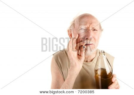 Senior Man With Cigarette And Alcohol