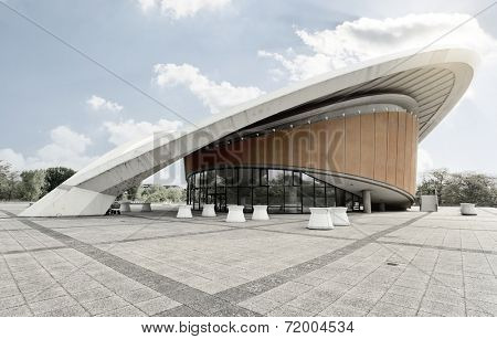 BERLIN - MAI 1, 2014: house of world cultures (Haus der Kulturen der Welt), an exhibition hall in Berlin designed by Hugh Stubbins