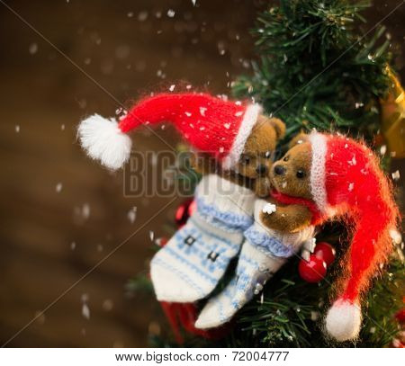 Small toy bears in christmas stoking