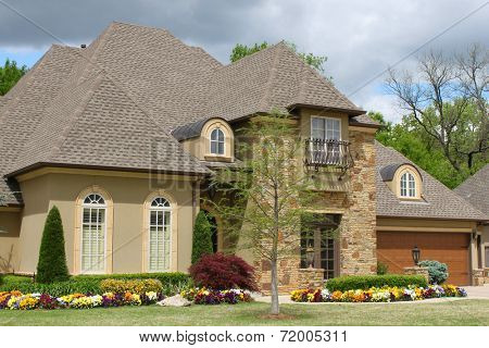 Nice brick house with pretty landscaping