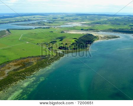 Aerial View Of Northland Coastline, New Zealand
