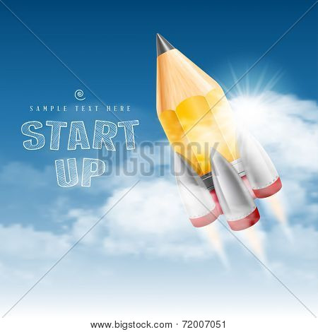 Rocket launch. Creative start up poster. Vector illustration.