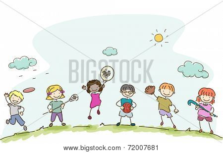 Illustration Featuring Kids Playing Different Sports