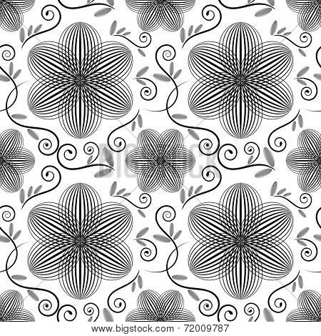 Black and white floral wallpaper pattern.