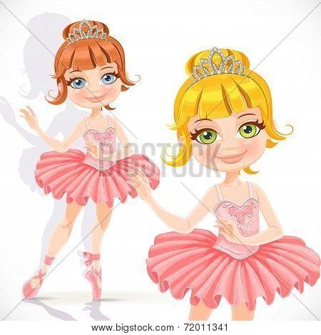 Ballerina girl in pink dress and tiara