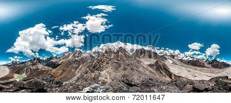 360 Degrees Panoramic View from Gokyo Ri. Himalaya, Nepal