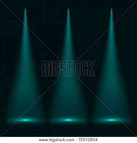 Abstract three cyan spotlights vector background.
