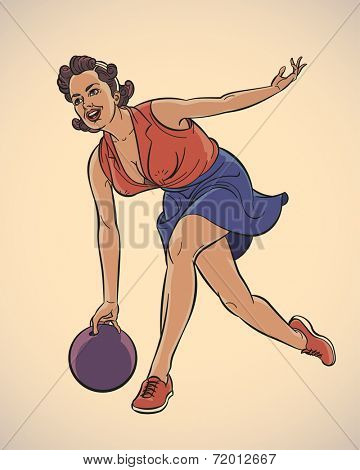 Pretty girl playing bowling. Vintage styled image. Raster illustration.