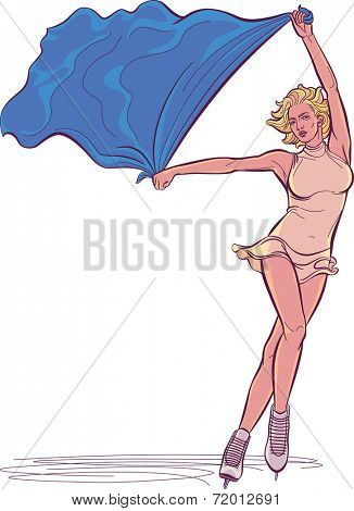 Beautiful iice-skating performer with a flag in her hands. Raster illustration.
