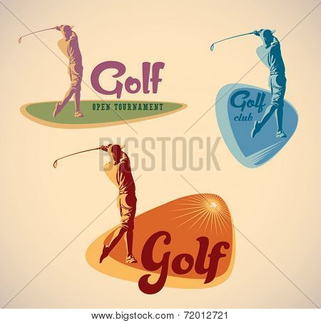 Set of vintage styled golf tournament labels. Raster illustration.