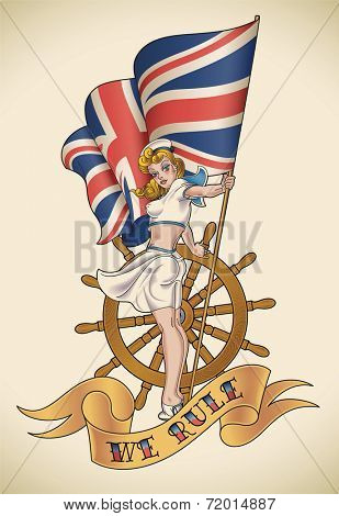 Old-school navy tattoo of a pin-up lady with the Union Jack in her hand. Raster illustration.