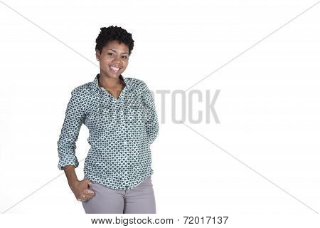 Attractive confident woman smiling isolated on white