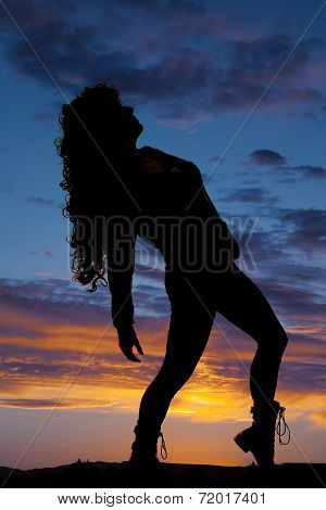 Silhouette Woman Curly Hair Leaning Back
