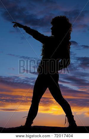 Silhouette Woman Curly Hair Side Pointing