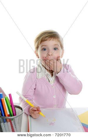 Blond wenig überrascht Geste Student Girl