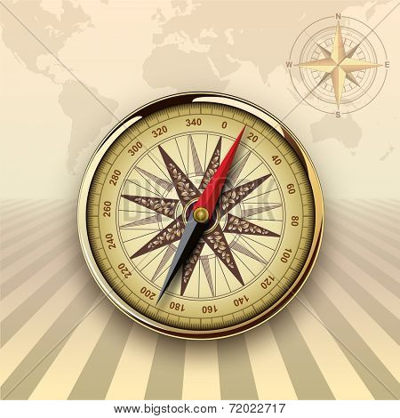 Travel background with compass and windrose, retro vector design.
