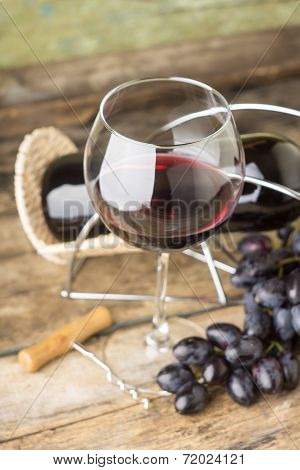 Winery Menu Background. Red Wine With Cluster Od Ripe Fresh Blue Grapes