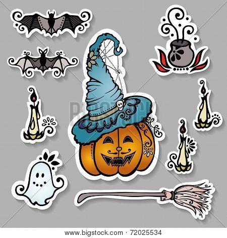 Vector Set of Ornate Halloween Decorations