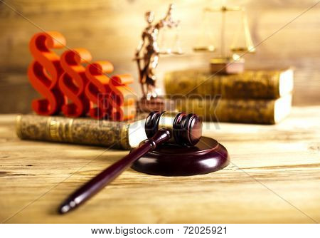 Paragraph, law theme, mallet of judge, wooden gavel
