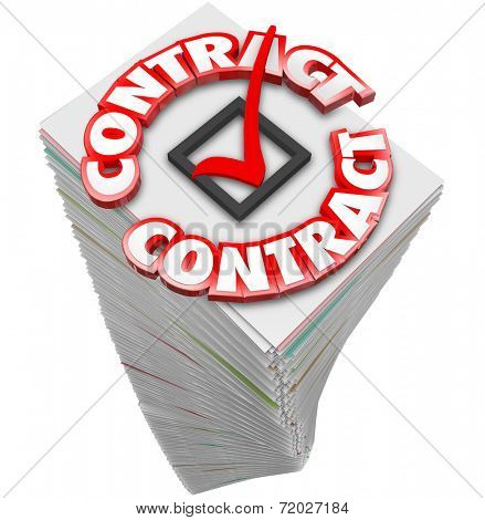Contract 3d Word on a pile of papers or documents as official files to sign and complete the deal