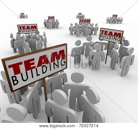 Team Building people gathered meeting around signs in training or group sessions to learn teamwork and success in meeting goals together