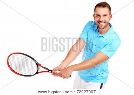 A picture of a handsome tennis player smiling over white background
