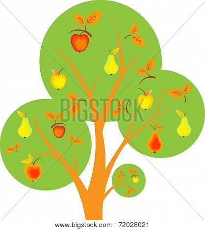 Apples And Pears Tree, Vector Tree