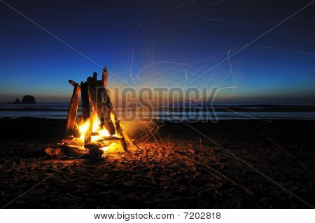 Campfire On Shi Shi Beach