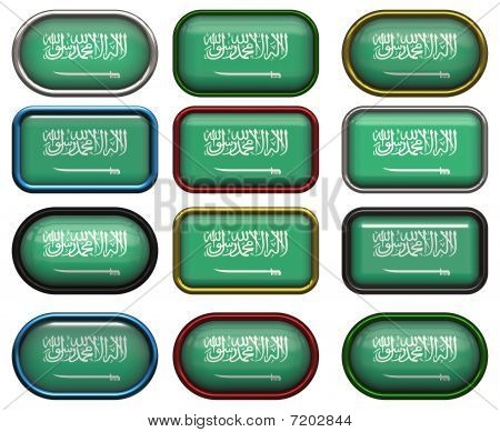 12 Buttons Of The Flag Of Saudia Arabia