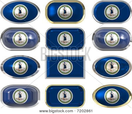 12 Buttons Of The Flag Of Virginia