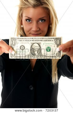 Businesswoman Holding A Dollar