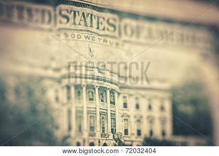 Money background - US dollars background, reto style toned photo with shallow DOF