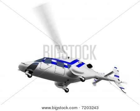 Helicopter Over White