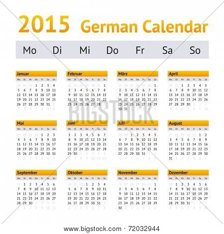 2015 German Calendar. Week starting on Monday