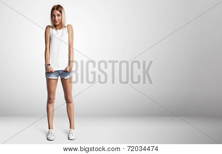 Young Woman Wearing Blank T-shirt