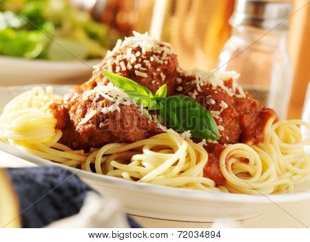 plate of Italian spaghetti and meatballs with slanted composition