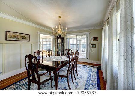 Elegant Carved Wood Dining Table Set