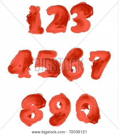 Red Watercolor Numbers