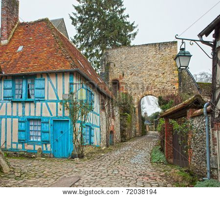 Old street in medieval village. Gerberoy is a commune in the Oise department in northern France.