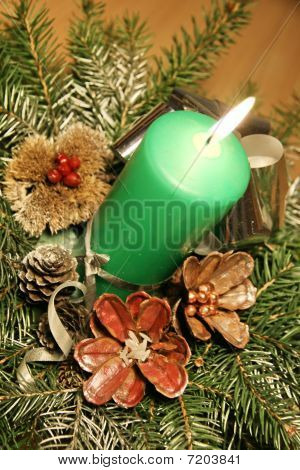 Green candle table decoration view