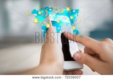 Hand touch the Screen on the Smart Phone